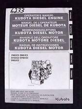 KUBOTA Z482-E3 Z602-E3 D722-E3 D782-E3 D902-E3 DIESEL ENGINE OPERATORS MANUAL