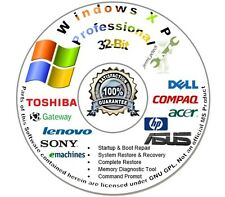 Windows XP Professional 32-Bit Re Install Repair Recovery Boot DVD Disc Disk