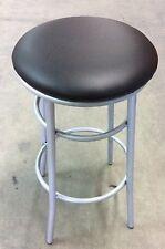 Sgabello medio per bar,cucin in metallo senza schienale seduta nero finta pelle
