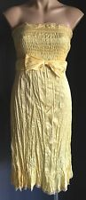 Pre-owned KATHERINE Yellow Strapless Crinkly Fabric Party/Formal Dress Size 14