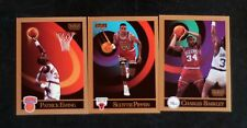 Three 1990/91 Skybox Scottie Pippen, Charles Barkley, and Patrick Ewing ex/mt