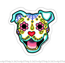 Day of the Dead Pit Bull Sticker  Sugar Skull Pitbull Dog Decal Smiling Calavera