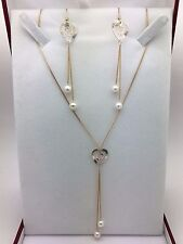 New 14K Tri Color Gold Necklace & Earrings Jewelry Set with Heart & Water Pearl