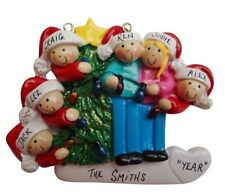 Personalized Christmas Tree Lights Family of 6 Ornament
