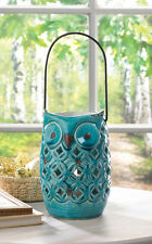 Teal Stoneware Owl Candle Lamp Lantern Hanging Table Wedding Decor CLEARANCE