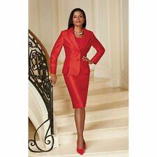 NEW EY Signature Women's Tailor Made Skirt Suit - Red - Size: 18W