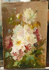 Tableau Ancien Huile Bouquet de Fleurs Composition Florale 2ème moitié du XIXe