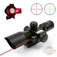 2.5-10X40EG Tactical Riflescope Mil Dot Dual Illuminated Red Green Laser w/Mount