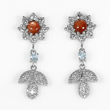 WOW! Natural SUNSTONE, TOPAZ & CZ .925 Sterling Silver Dangling Earrings