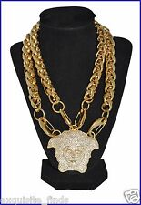 SOLD OUT!!! VERSACE GOLD DOUBLE CHAIN  NECKLACE WITH EMBELLISHED MEDUSA CHARM