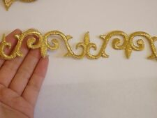 large gold patch applique motif iron on sew on embroidered trimming UK 18 x 3 cm