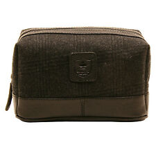 ASHWOOD - BLACK TWICKENHAM WASH BAG IN COW TUMBLE/TWEED LEATHER