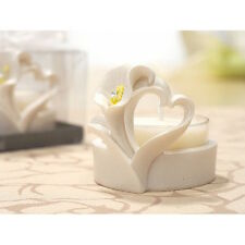Set of 6 Calla Lily & Heart taillight candle, wedding / communion favour. (5910)