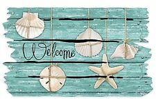 "18"" x 30"" Welcome Seashell Door Mat Outdoor Entryway Coastal Decor Beach Home"