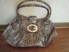 VINTAGE GUESS SATCHEL PURSE - TAUPE & BROWN PATENT LEATHER