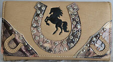 NEW BEIGE TAN HORSE HORSESHOE RHINESTONE CAMO EMBROIDERY TRIFOLD CLUTCH WALLET