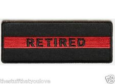 "(D13) RETIRED RED LINE FIREFIGHTER 4"" x 1.5"" sew / iron on patch (4409)"