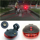 1* Bicycle Bike 5LED 2 Laser Beam MTB Cycle Rear Warn Light Red Safety Tail Lamp