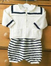 Knitting Pattern Baby Sailor 3 Piece Outfit Christening Occasion