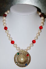 FAUX GLASS WHITE PEARLS & RED GLASS BEAD NECKLACE WITH GOLD TONED METAL PENDANT