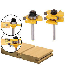 "Tongue and Groove Router Bit Set 3/4"" Stock 1/4"" Shank Woodworking Tool Routers"