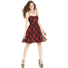 Betsey Johnson 10 Nwt  Red Sweetheart Plaid Skater Mesh Dress 10