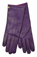 [83 18] COACH NWT WOMENS PLUM PURPLE 82821 GENUINE LEATHER CASHMERE GLOVES 8