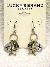 LUCKY BRAND EARRINGS, GOLDTONE & SILVERTONE CHARM DANGLES, NWT