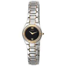 SEIKO DRESS BLACK DIAL DIAMOND BEZEL TWO-TONE ST.STEEL WOMEN'S WATCH SUJF10 NEW