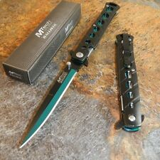 MTech Spring Assisted Open BLACK & GREEN Stiletto Tactical Folding Pocket Knife