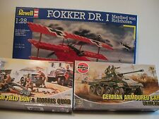 MILITARY MODEL BUNDLE (3 kits ) MIB (FOKKER,FIELD GUN,ARMOURED CAR) FREE SHIP