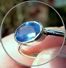 Handmade Natural ~2 carat (1.86) Blue Sapphire 9ct Solitaire White Gold Ring
