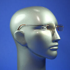 Computer Reading Glasses Frameless Lightweight Aspheric Lens Gold Trim +3.00