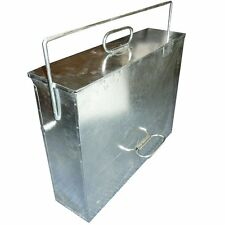 Large Galvanised Metal Hot Ash Tidy Box Carrier Bucket Fireplace Pan Bin