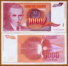 Yugoslavia, 1000 (1,000) Dinara, 1992, Pick 114, UNC   Red Tesla