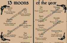 13 Moons of the Year 2 pg set Parchment for Wicca Spell Book of Shadows Poster