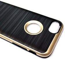 For iPhone 7 Slim Black Gold Soft Brushed Silk Rubber Protector Skin Case Cover