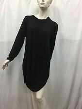 Morgan Marks XL Fits 18 Asymetric Long-sleeve Black Knit Dress