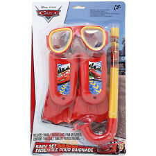 Cars Mcqueen with Francesco Swim Goggles Mask Snorkel Flipper 3pc Set
