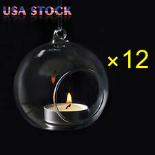 12 x Lot Crystal Glass Hanging Candle Holder Candlestick Romantic Wedding Dinner
