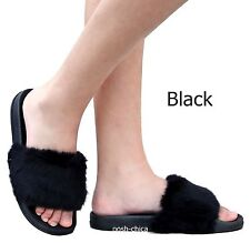 New Women Fzy Black White Wine Fuzzy Faux Fur Open Toe Sandals Slippers