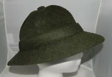 """Vintage Authentic BURBERRY'S Olive Green 100% Wool Bucket Hat Super Rare 21.25"""""""