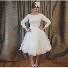 Vintage 1960s 3/4 Sleeve Short Ball Gown Bridal Gown Wedding Dresses Custom Size