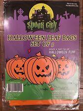3 Packs Spook City Holloween Leaf Bags Pumpkin Jack O Lantern 9 bags Total NIP