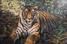 "Rare david aldus original oil ""regal tiger"" big cat peinture à l'huile"