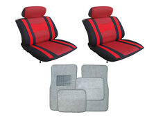 Mesh Red & Black Seat Covers with Silver Carpet floor Mats for Cars SUVS- Combo