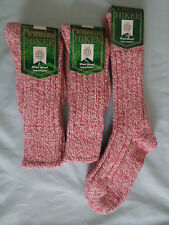 LADIES PINK WOOL BLEND LONG LEG HIKING WALKING BOOT SOCKS SMALL 3-5