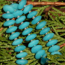 "Sea Glass "" Button Spacer"" Beads (14mm x 15 mm)10 OPAQUE BLUE OPAL Beads"