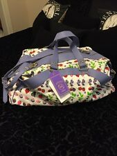 Versace for H&M Duffle White Lavender Cotton / Leather Travel Bag NWT