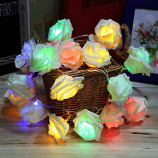 2M 20LED Rose Floral Fairy Wedding Home Table Indoor Bulbs Decor String Lights